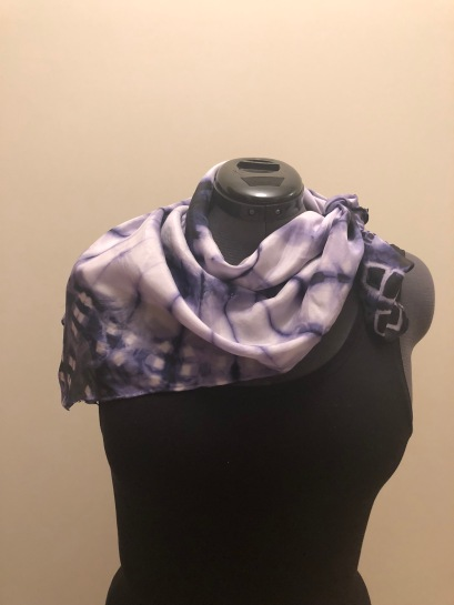 silk scarf: shibori-dyed with logwood