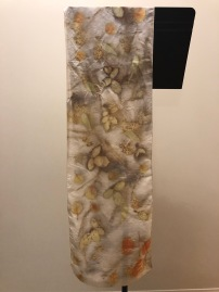 silk scarf: eco printed with locally foraged flora - eucalyptus, rose, maple