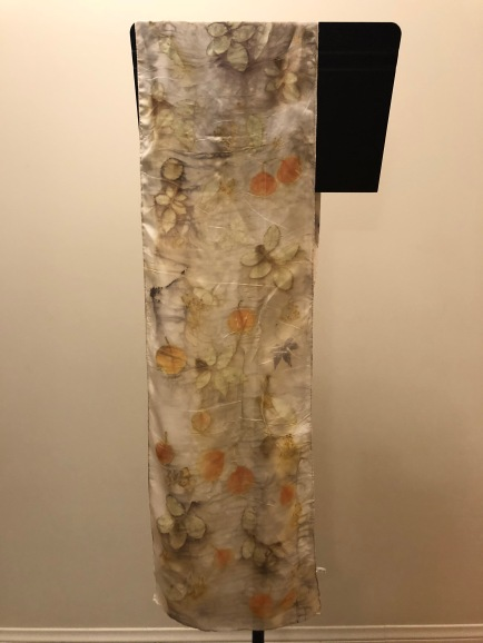 silk scarf: eco printed with locally foraged leaves - eucalyptus, rose, maple