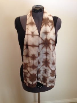silk scarf: shibori-dyed with pomegranates